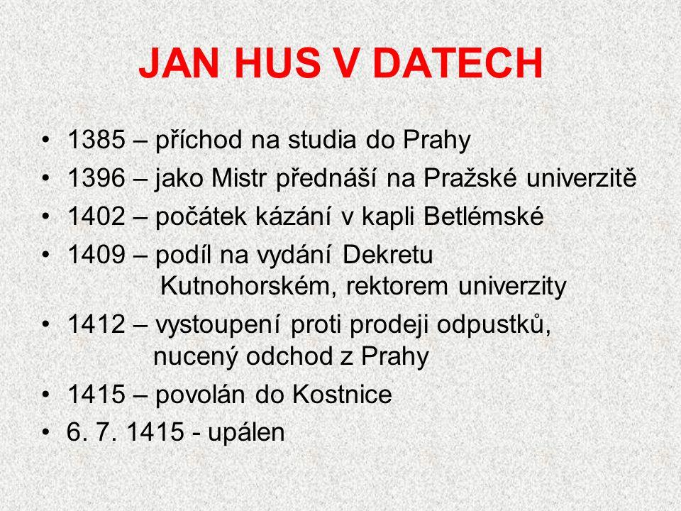 HUSITSKÉ BITVY vítězné:  1420 u Sudoměře  1420 na Vítkově  1422 na Vyšehradu  1423 u Hořic  1424 u Malešova (smrt Jana Žižky)  1426 u Ústí nad Labem  1427 u Tachova  1431 u Domažlic prohra:  1434 u Lipan (porážka husitů, smrt,Prokopa Holého)  1437 dobití hradu Sion (Jan Roháč z Dubé)