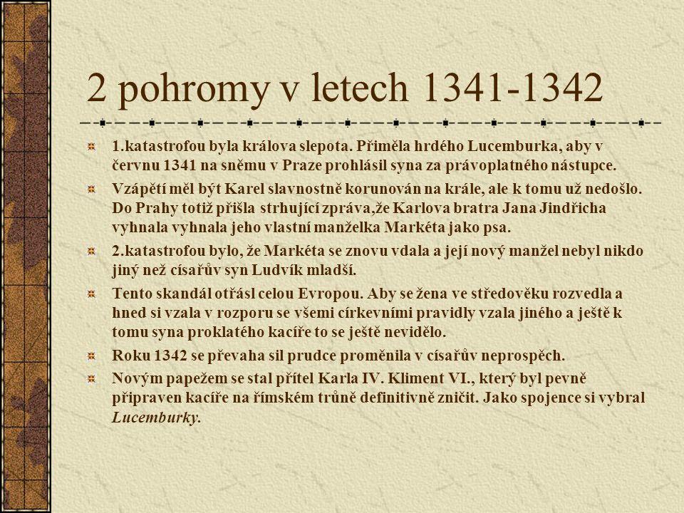 2 pohromy v letech 1341-1342 1.katastrofou byla králova slepota. Přiměla hrdého Lucemburka, aby v červnu 1341 na sněmu v Praze prohlásil syna za právo