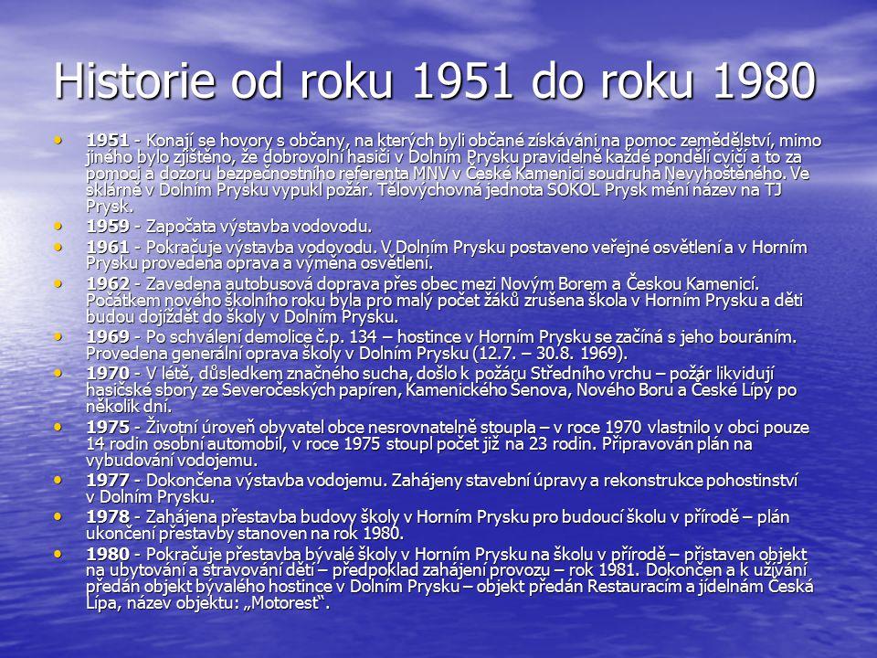 Historie od roku 1951 do roku 1980 1951 - Konají se hovory s občany, na kterých byli občané získáváni na pomoc zemědělství, mimo jiného bylo zjištěno,