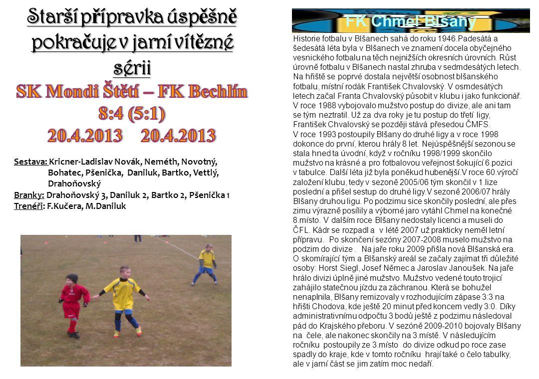 Historie fotbalu v Blšanech sahá do roku 1946.Padesátá a šedesátá léta byla v Blšanech ve znamení docela obyčejného vesnického fotbalu na těch nejnižš