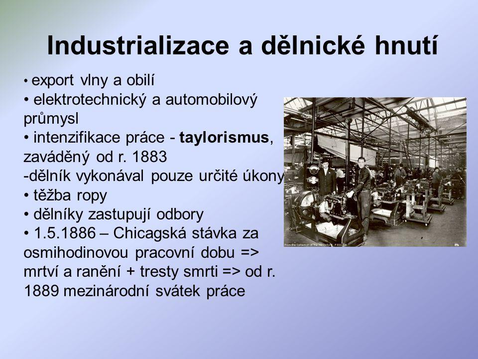Industrializace a dělnické hnutí export vlny a obilí elektrotechnický a automobilový průmysl intenzifikace práce - taylorismus, zaváděný od r. 1883 -d