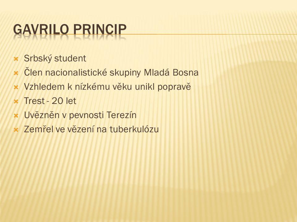  Srbský student  Člen nacionalistické skupiny Mladá Bosna  Vzhledem k nízkému věku unikl popravě  Trest - 20 let  Uvězněn v pevnosti Terezín  Ze