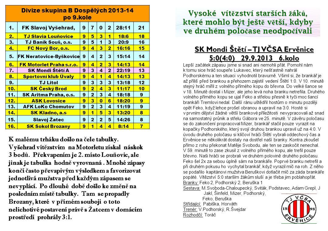 SK Mondi Štětí – TJ VČSA Ervěnice 5:0(4:0) 29.9.2013 6.kolo Lepší začátek zápasu jsme si snad ani nemohli přát. Pomohl nám k tomu sice hráč soupeře Lu