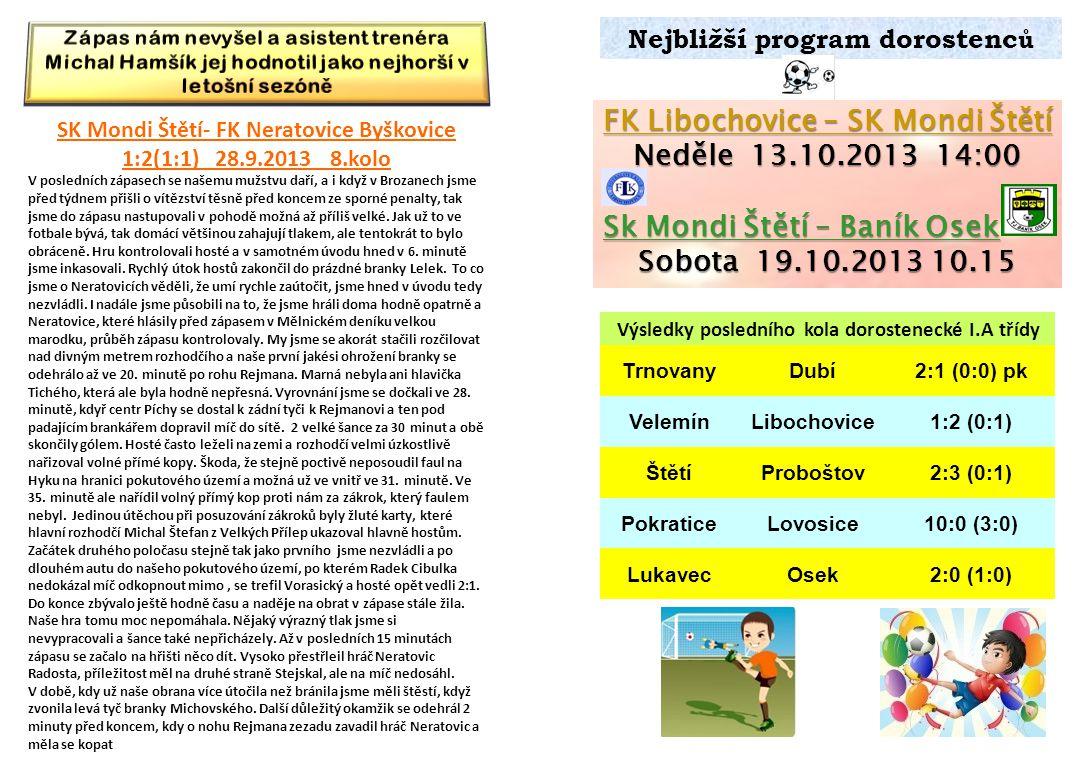 Nejbližší program dorostenc ů FK Libochovice – SK Mondi Štětí Neděle 13.10.2013 14:00 Sk Mondi Štětí – Baník Osek Sobota 19.10.2013 10.15 Výsledky pos