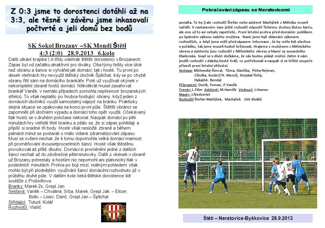 SK Sokol Brozany – SK Mondi Š tět í 4:3 (2:0) 28.9.2013 6.kolo Další utkání krajské I.A třídy odehráli štětští dorostenci v Brozanech.
