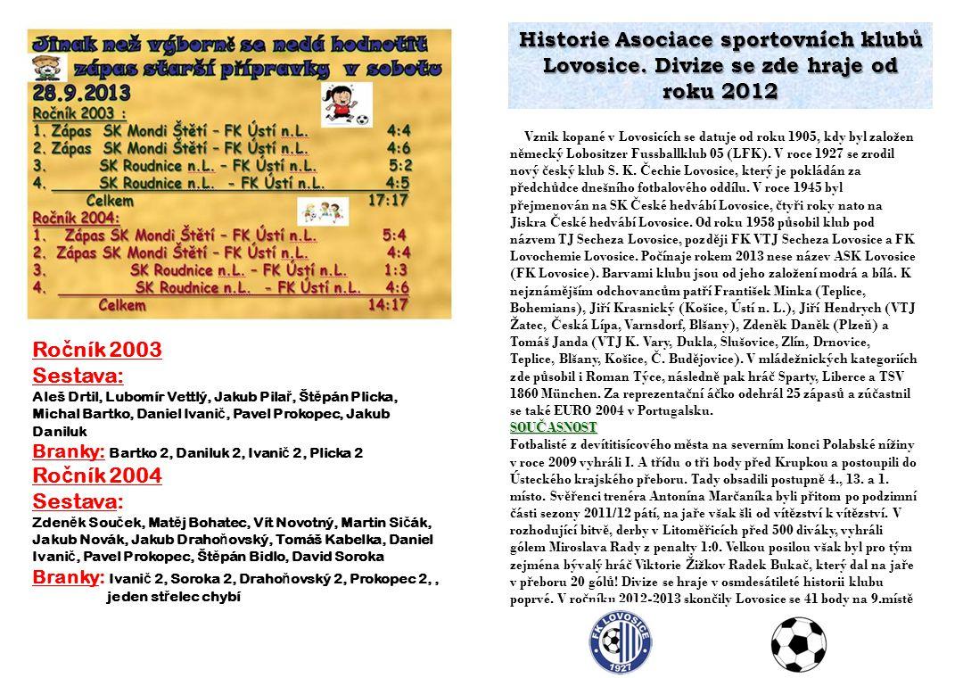 Historie Asociace sportovních klubů Lovosice. Divize se zde hraje od roku 2012 Vznik kopané v Lovosicích se datuje od roku 1905, kdy byl založen n ě m