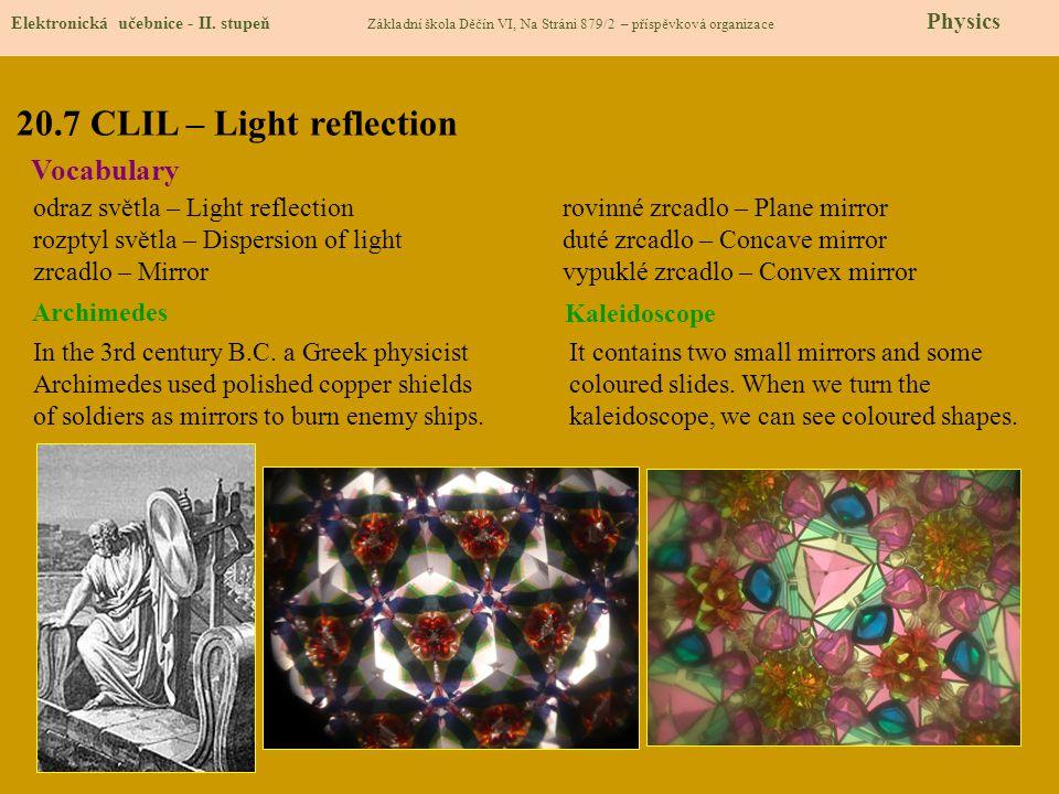 20.7 CLIL – Light reflection Elektronická učebnice - II. stupeň Základní škola Děčín VI, Na Stráni 879/2 – příspěvková organizace Physics Vocabulary o