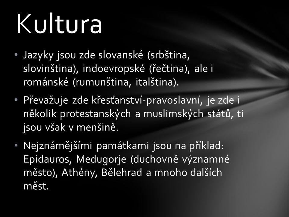 Kultura Jazyky jsou zde slovanské (srbština, slovinština), indoevropské (řečtina), ale i románské (rumunština, italština). Převažuje zde křesťanství-p