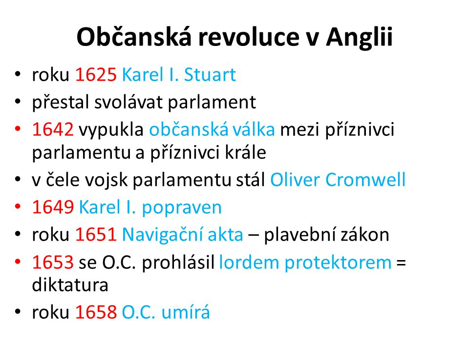 Občanská revoluce v Anglii roku 1625 Karel I.