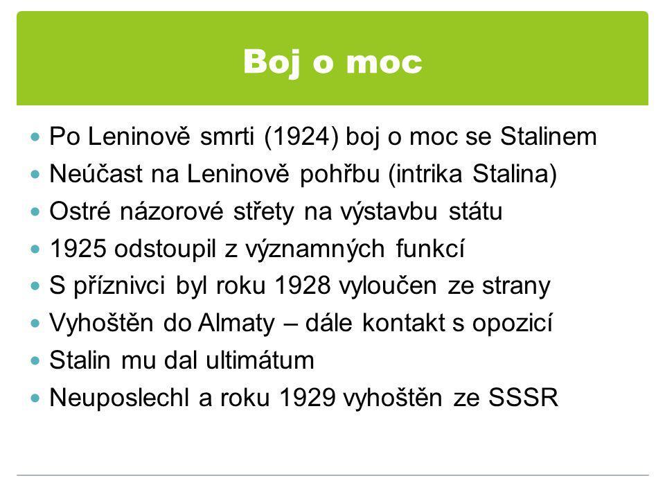 Boj o moc Po Leninově smrti (1924) boj o moc se Stalinem Neúčast na Leninově pohřbu (intrika Stalina) Ostré názorové střety na výstavbu státu 1925 odstoupil z významných funkcí S příznivci byl roku 1928 vyloučen ze strany Vyhoštěn do Almaty – dále kontakt s opozicí Stalin mu dal ultimátum Neuposlechl a roku 1929 vyhoštěn ze SSSR