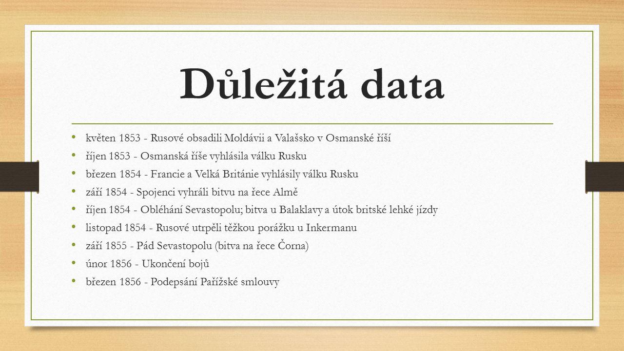 Důležitá data květen 1853 - Rusové obsadili Moldávii a Valašsko v Osmanské říší říjen 1853 - Osmanská říše vyhlásila válku Rusku březen 1854 - Francie