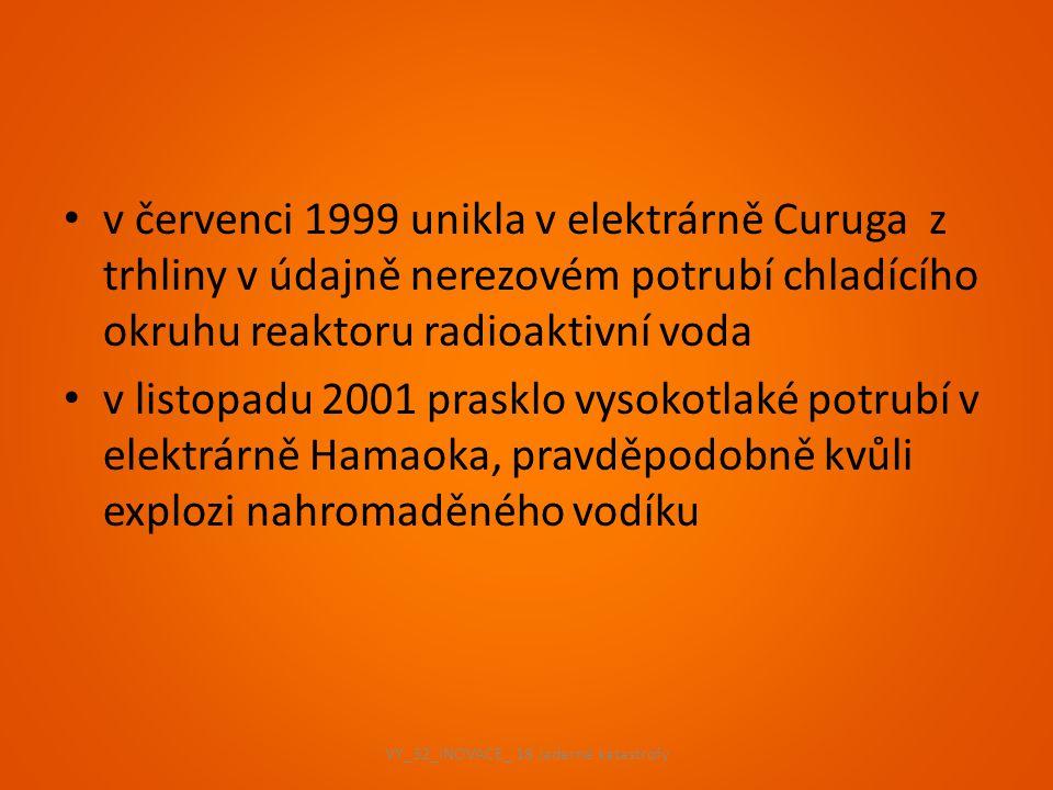 v červenci 1999 unikla v elektrárně Curuga z trhliny v údajně nerezovém potrubí chladícího okruhu reaktoru radioaktivní voda v listopadu 2001 prasklo