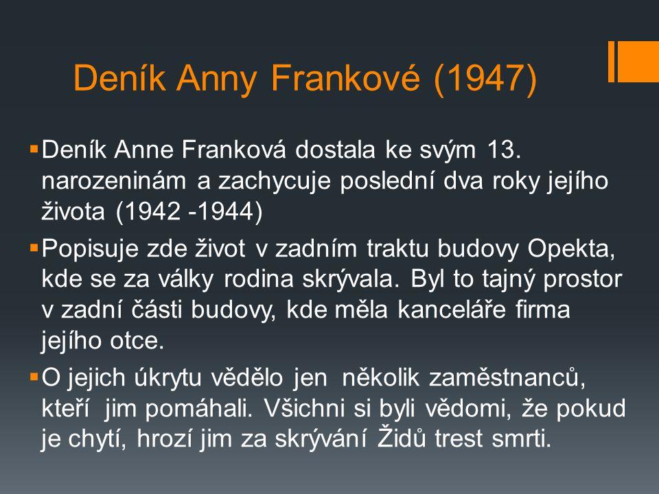  Text je psán jako dopisy fiktivní přítelkyni Kitty  Autorka popisuje atmosféru strachu, nervozitu, nedostatek soukromí, snahu o obyčejný život v tísnivých podmínkách … Další postavy:  Margot - starší sestra (1926)  otec  matka  rodina van Pelsových a jejich syn Petr (v knize van Daanovi)  Fritz Pfeffer ( v knize Dussel) - zubař a přítel rodiny
