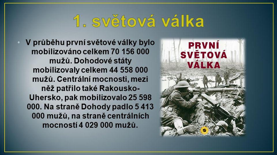 V průběhu první světové války bylo mobilizováno celkem 70 156 000 mužů. Dohodové státy mobilizovaly celkem 44 558 000 mužů. Centrální mocnosti, mezi n