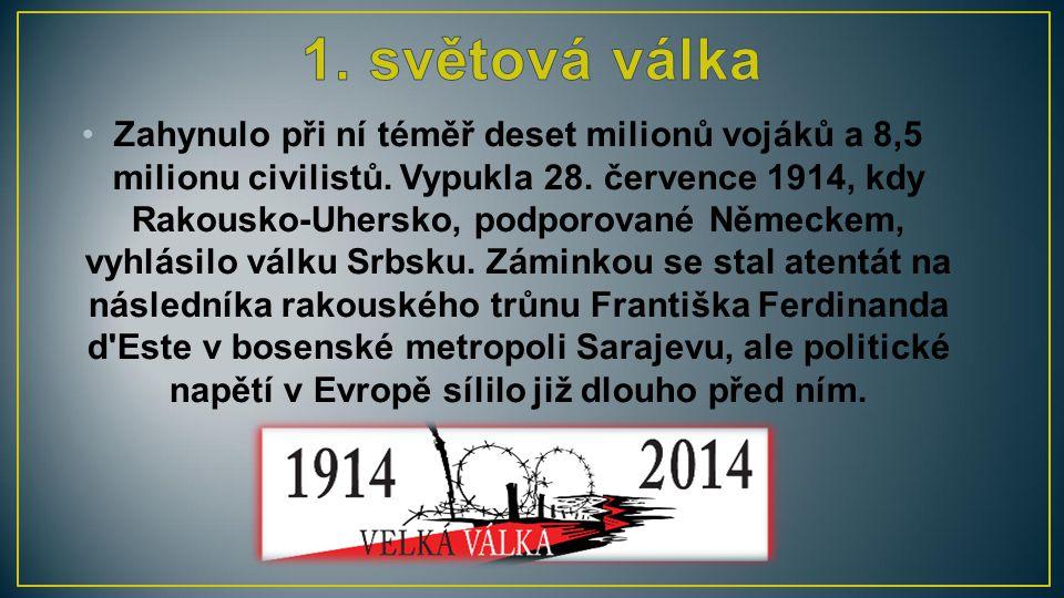 Zahynulo při ní téměř deset milionů vojáků a 8,5 milionu civilistů. Vypukla 28. července 1914, kdy Rakousko-Uhersko, podporované Německem, vyhlásilo v