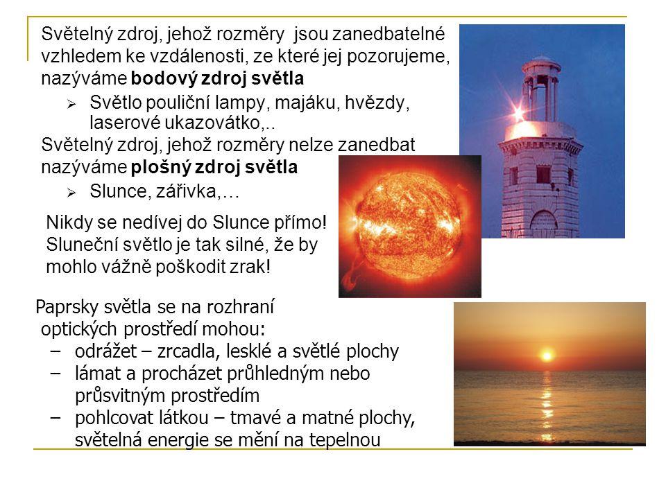 Světelný zdroj, jehož rozměry jsou zanedbatelné vzhledem ke vzdálenosti, ze které jej pozorujeme, nazýváme bodový zdroj světla  Světlo pouliční lampy