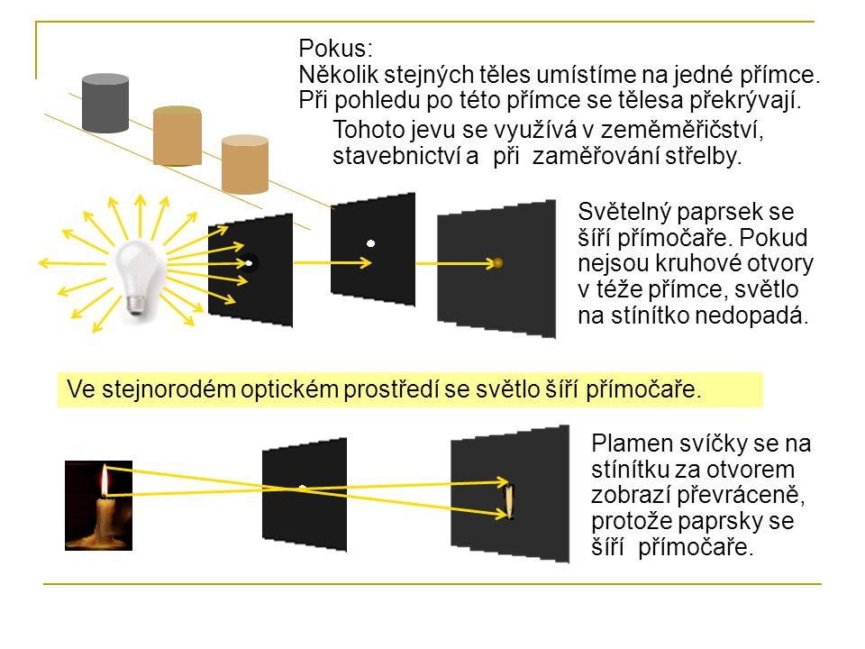 Ve stejnorodém optickém prostředí se světlo šíří přímočaře. Pokus: Několik stejných těles umístíme na jedné přímce. Při pohledu po této přímce se těle