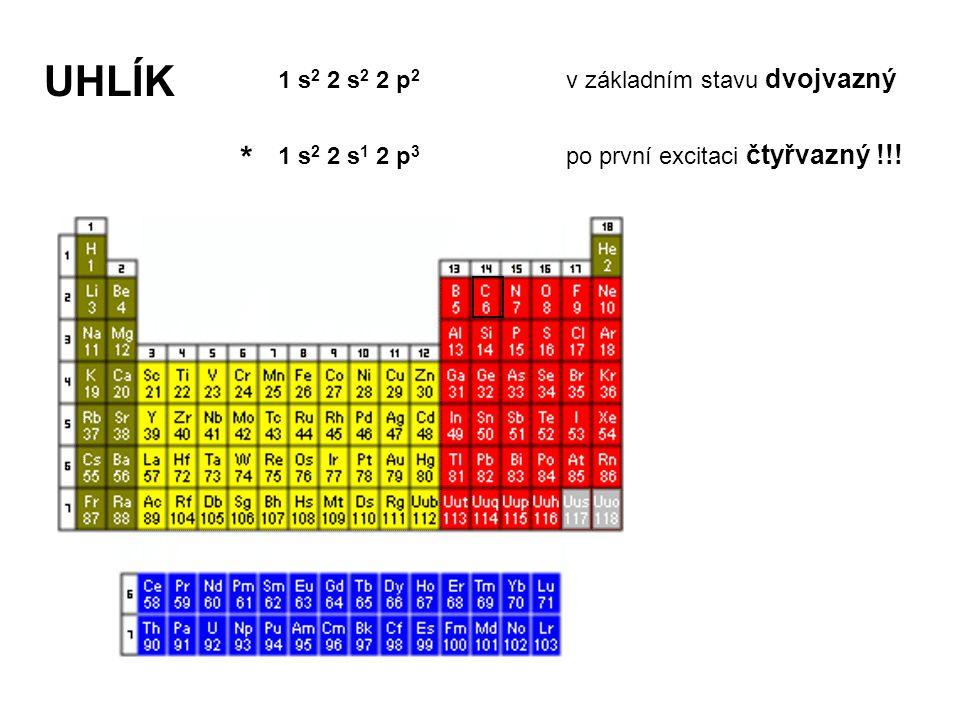 UHLÍK 1 s 2 2 s 2 2 p 2 v základním stavu dvojvazný 1 s 2 2 s 1 2 p 3 po první excitaci čtyřvazný !!.