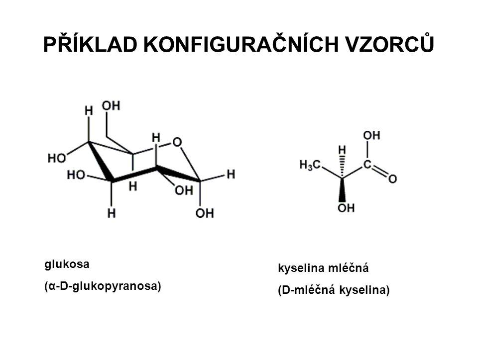 PŘÍKLAD KONFIGURAČNÍCH VZORCŮ glukosa (α-D-glukopyranosa) kyselina mléčná (D-mléčná kyselina)