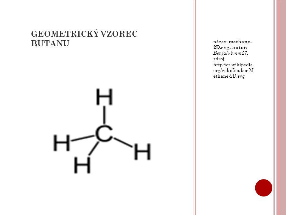 GEOMETRICKÝ VZOREC BUTANU název: methane- 2D.svg, autor: Benjah-bmm27, zdroj: http://cs.wikipedia. org/wiki/Soubor:M ethane-2D.svg