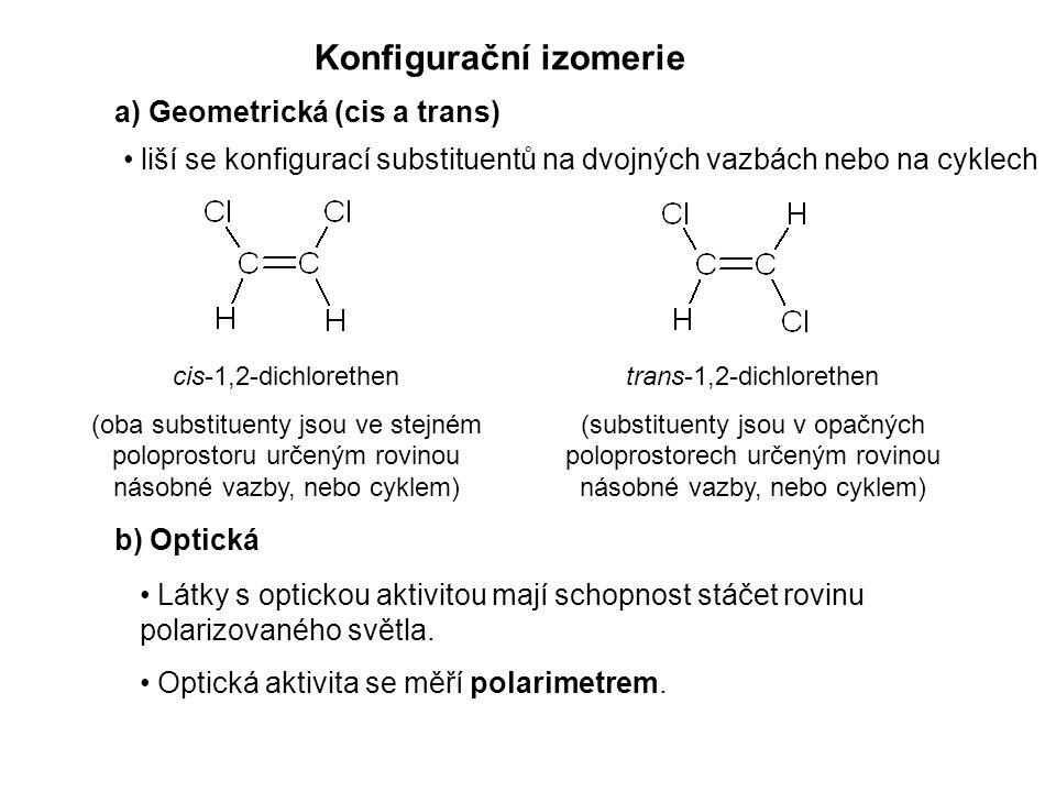 Konfigurační izomerie a) Geometrická (cis a trans) b) Optická liší se konfigurací substituentů na dvojných vazbách nebo na cyklech Látky s optickou aktivitou mají schopnost stáčet rovinu polarizovaného světla.