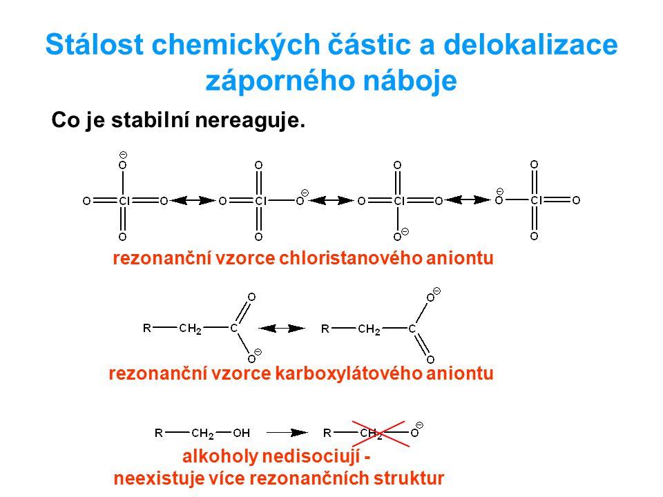Stálost chemických částic a delokalizace záporného náboje rezonanční vzorce chloristanového aniontu rezonanční vzorce karboxylátového aniontu alkoholy