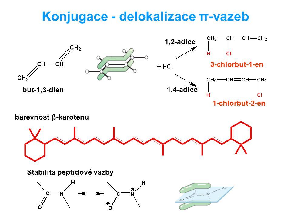 Konjugace - delokalizace π-vazeb but-1,3-dien 1,2-adice 1,4-adice barevnost β-karotenu Stabilita peptidové vazby 3-chlorbut-1-en 1-chlorbut-2-en
