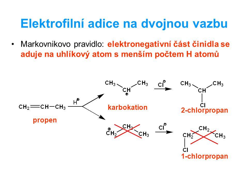 Elektrofilní adice na dvojnou vazbu Markovnikovo pravidlo: elektronegativní část činidla se aduje na uhlíkový atom s menším počtem H atomů propen karb