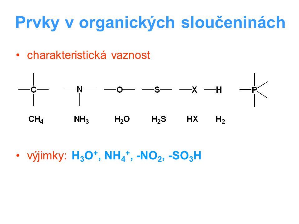 Prvky v organických sloučeninách charakteristická vaznost výjimky: H 3 O +, NH 4 +, -NO 2, -SO 3 H