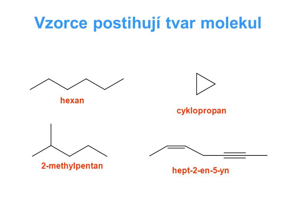 Izomerie izomery jsou chemická individua o stejném souhrnném vzorci, lišící se rozdílným uspořádáním atomů (konstitucí), popřípadě rozdílnou orientací částí svých molekul v prostoru Typy vzorců empirický (stechiometrický) CH 2 O souhrnný (sumární) C 6 H 12 O 6 konstituční Konstituce: uspořádání atomů a vazeb v molekule Chemické vlastnosti sloučeniny ovlivňuje nejen její souhrnný vzorec (kvalita a počet atomů), ale i způsob, jakým jsou jednotlivé atomy do molekuly zabudovány – Butlerov 1861