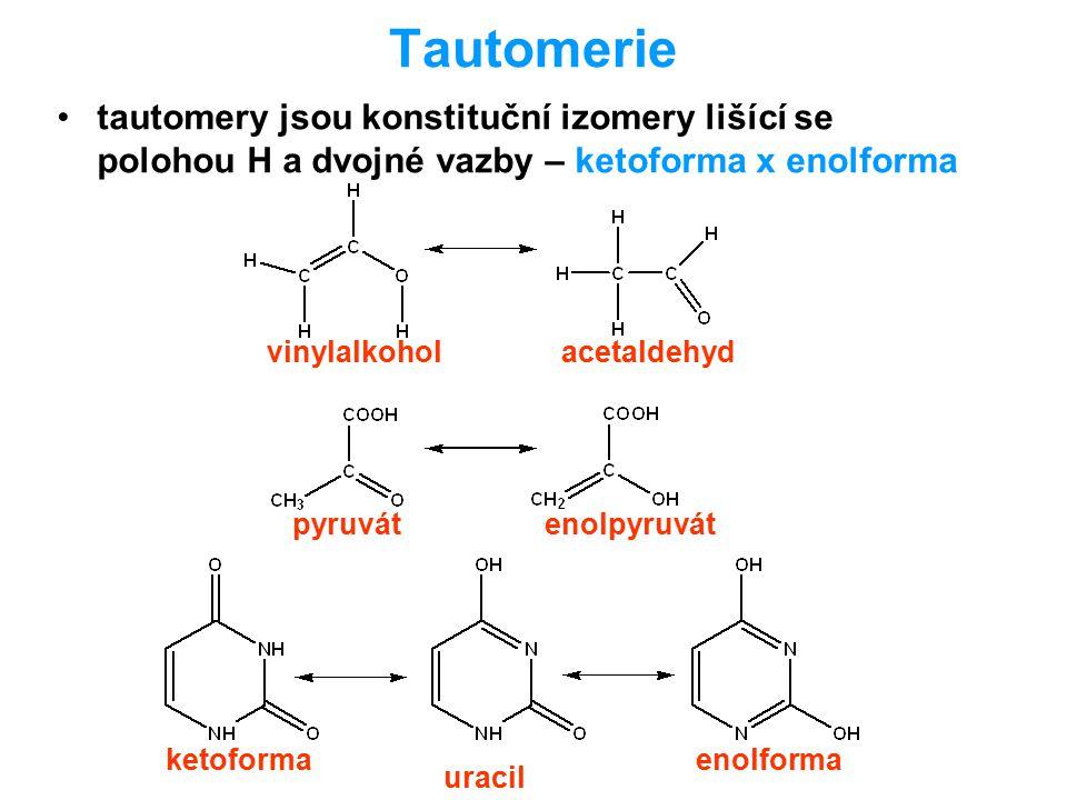 Tautomerie tautomery jsou konstituční izomery lišící se polohou H a dvojné vazby – ketoforma x enolforma vinylalkoholacetaldehyd pyruvátenolpyruvát ur