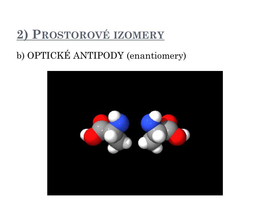 2) P ROSTOROVÉ IZOMERY b) OPTICKÉ ANTIPODY (enantiomery)