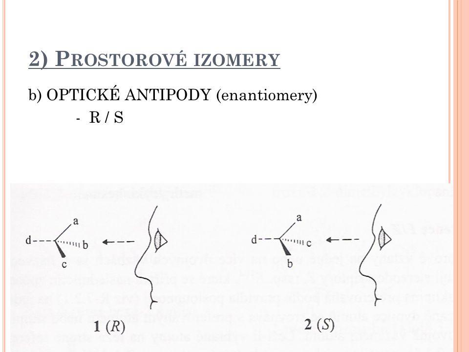 2) P ROSTOROVÉ IZOMERY b) OPTICKÉ ANTIPODY (enantiomery) - R / S
