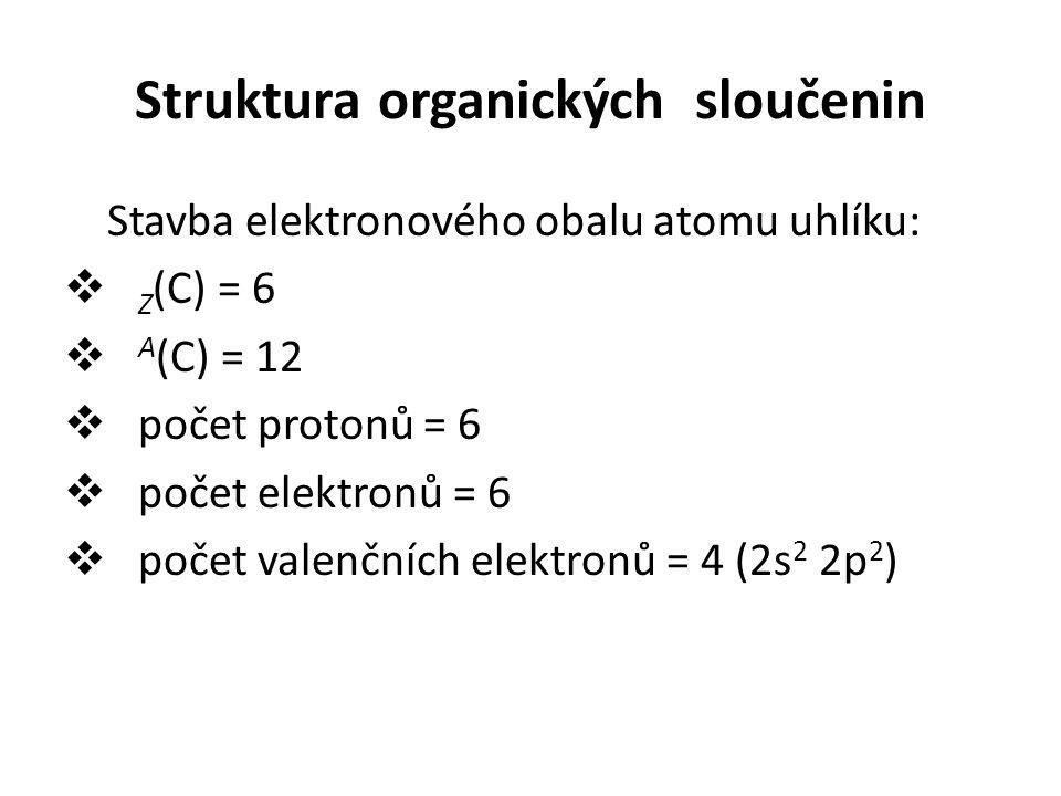 Vazebné možnosti atomu uhlíku  atom uhlíku v základním stavu má konfiguraci 6 C : 1s 2 2s 2 2p 2, což by umožňovalo vytvořit jen dva překryvy atomových orbitalů 2p a tím vytvořit jen dvě kovalentní vazby.