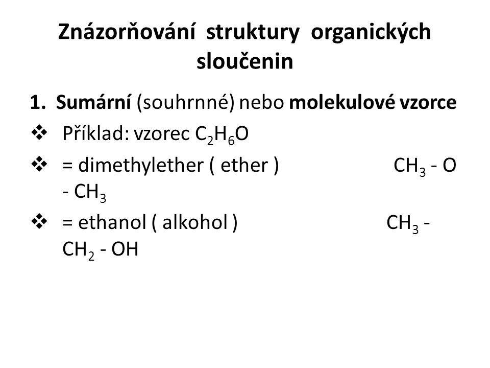 Znázorňování struktury organických sloučenin 1. Sumární (souhrnné) nebo molekulové vzorce  Příklad: vzorec C 2 H 6 O  = dimethylether ( ether ) CH 3