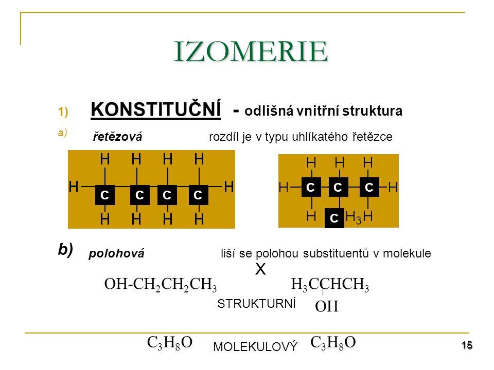 15 1) KONSTITUČNÍ - odlišná vnitřní struktura a) b) X IZOMERIE OH-CH 2 CH 2 CH 3 H 3 CCHCH 3 OH C3H8OC3H8OC3H8OC3H8O MOLEKULOVÝ STRUKTURNÍ CCCC CCC C rozdíl je v typu uhlíkatého řetězce liší se polohou substituentů v molekule řetězová polohová