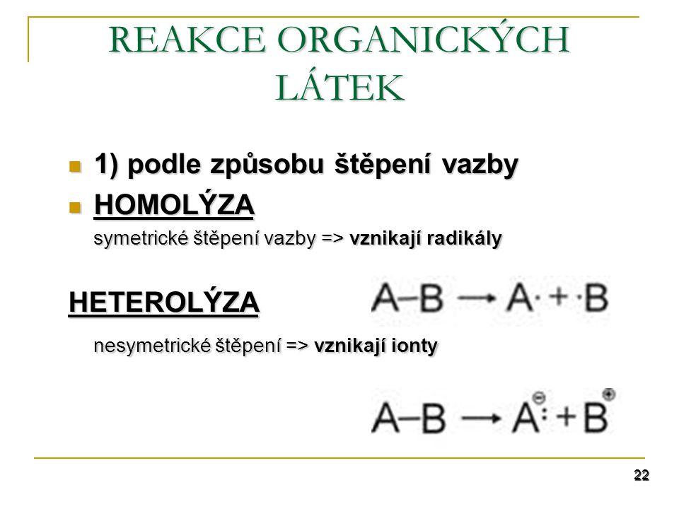 22 REAKCE ORGANICKÝCH LÁTEK 1) podle způsobu štěpení vazby 1) podle způsobu štěpení vazby HOMOLÝZA HOMOLÝZA symetrické štěpení vazby => vznikají radikály HETEROLÝZA nesymetrické štěpení => vznikají ionty