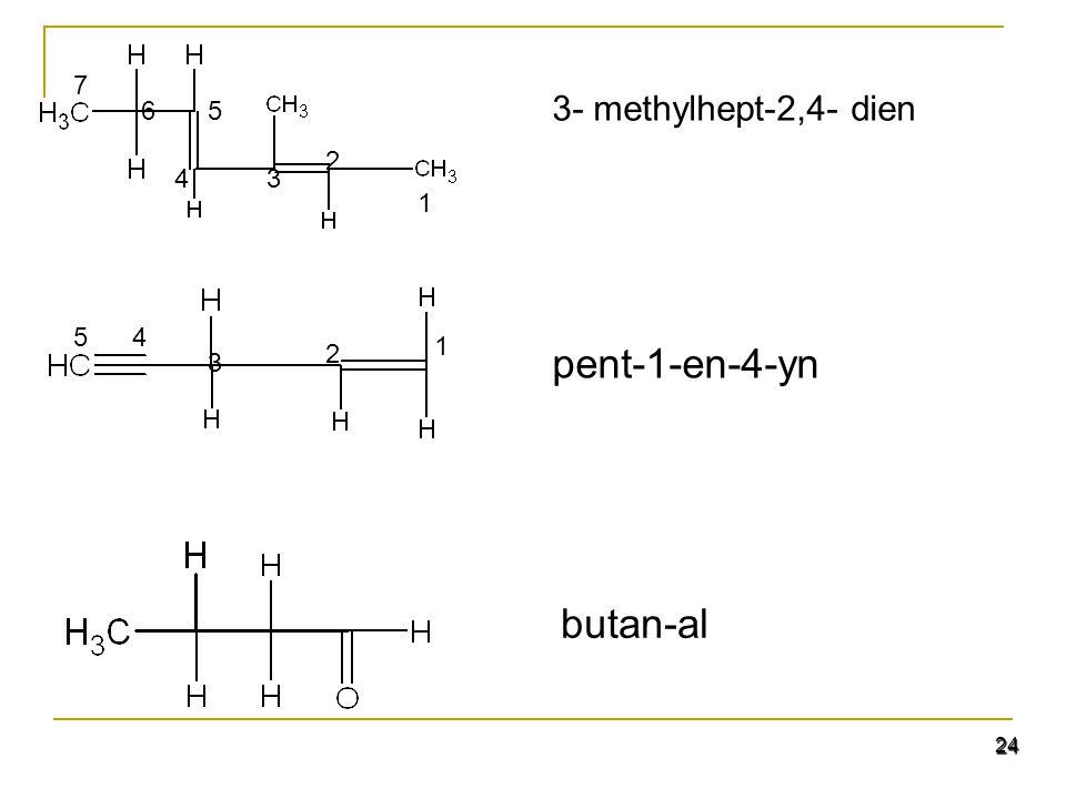 24 3- methylhept-2,4- dien pent-1-en-4-yn 1 2 3 45 butan-al 1 2 3 5 4 6 7