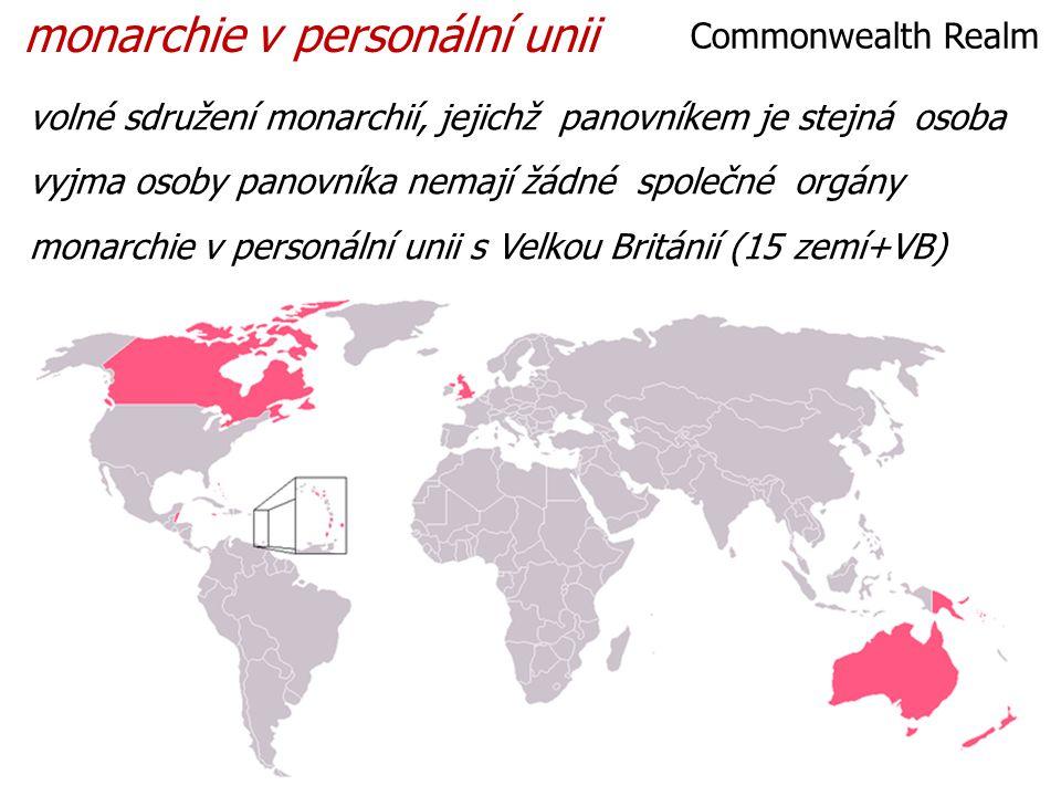 volné sdružení monarchií, jejichž panovníkem je stejná osoba vyjma osoby panovníka nemají žádné společné orgány monarchie v personální unii s Velkou Británií (15 zemí+VB) Commonwealth Realm monarchie v personální unii