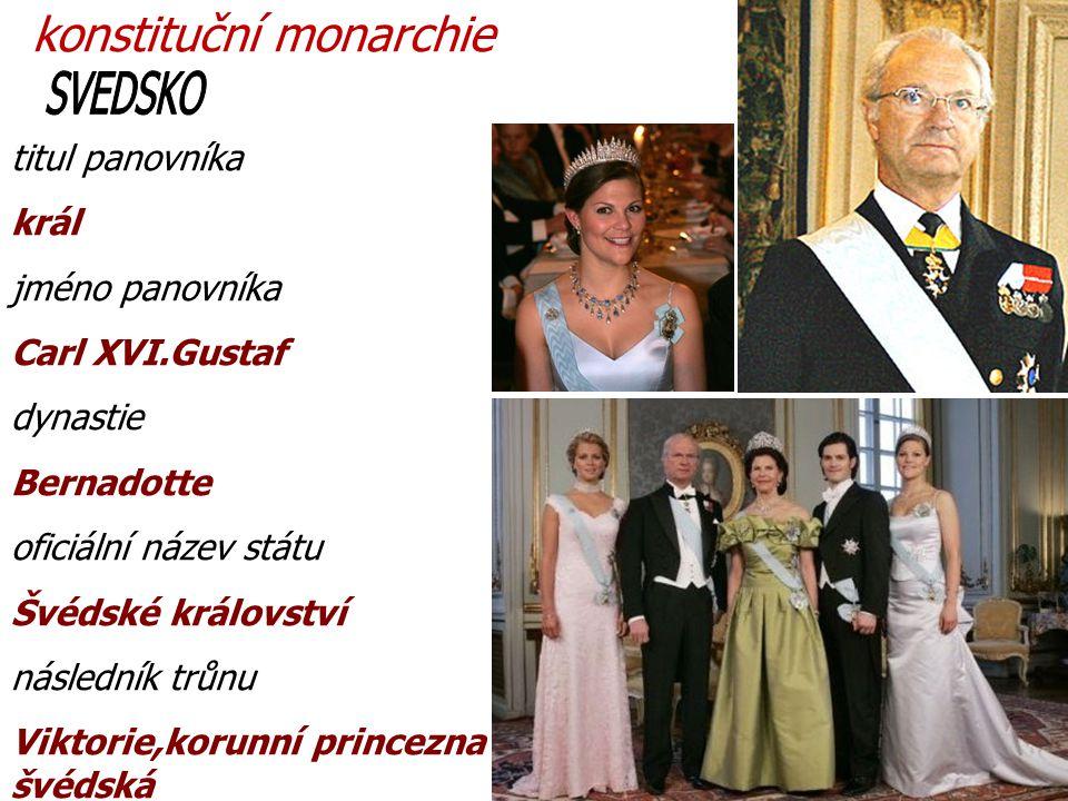 titul panovníka král jméno panovníka Carl XVI.Gustaf dynastie Bernadotte oficiální název státu Švédské království následník trůnu Viktorie,korunní princezna švédská