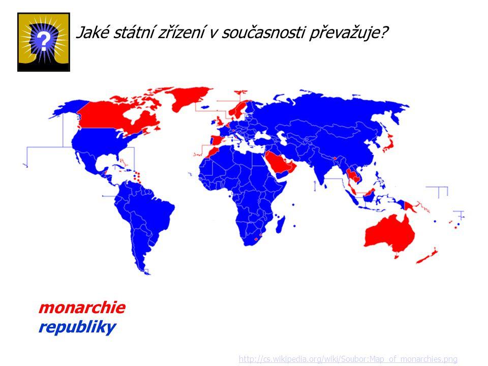 http://cs.wikipedia.org/wiki/Soubor:Map_of_monarchies.png monarchie republiky Jaké státní zřízení v současnosti převažuje?
