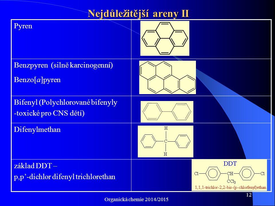 Organická chemie 2014/2015 12 Nejdůležitější areny II Pyren Benzpyren (silně karcinogenní) Benzo[a]pyren Bifenyl (Polychlorované bifenyly -toxické pro