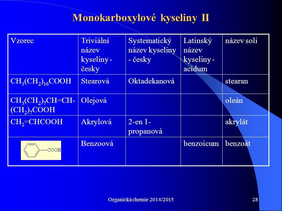 Organická chemie 2014/201528 Monokarboxylové kyseliny II VzorecTriviální název kyseliny - česky Systematický název kyseliny - česky Latinský název kys