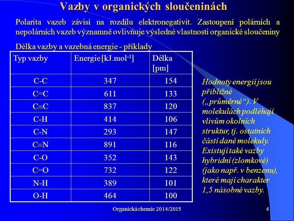 Organická chemie 2014/20154 Polarita vazeb závisí na rozdílu elektronegativit. Zastoupení polárních a nepolárních vazeb významně ovlivňuje výsledné vl