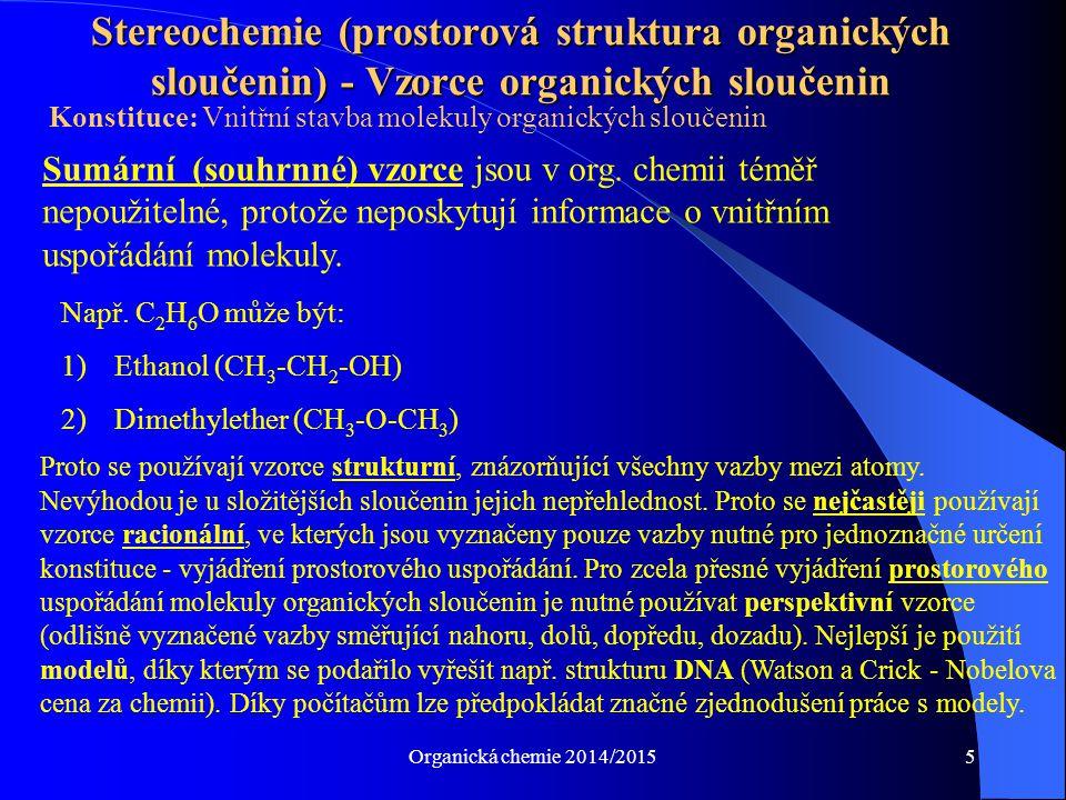 Organická chemie 2014/201536 Nejdůležitější ketokyseliny I 1) Kyselina pyrohroznová, acidum pyruvicum, Pyruvát Enolforma Ketoforma (Pro biochemii jedna z nejdůležitějších kyselin!!) (keto-, enol- tautomerie)Aceton 2) Kyselina acetoctová, acidum acetaceticum, acetoacetát Acetoacetát vzniká při odbourávání tuků (MK) 3) Kyselina oxaloctová, -, oxalacetát Důležitá součást citrátového cyklu CH 2 C COOH OH O COOH CCH 3