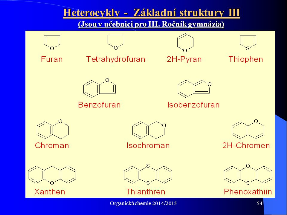 Organická chemie 2014/201554 Heterocykly - Základní struktury III (Jsou v učebnici pro III. Ročník gymnázia)