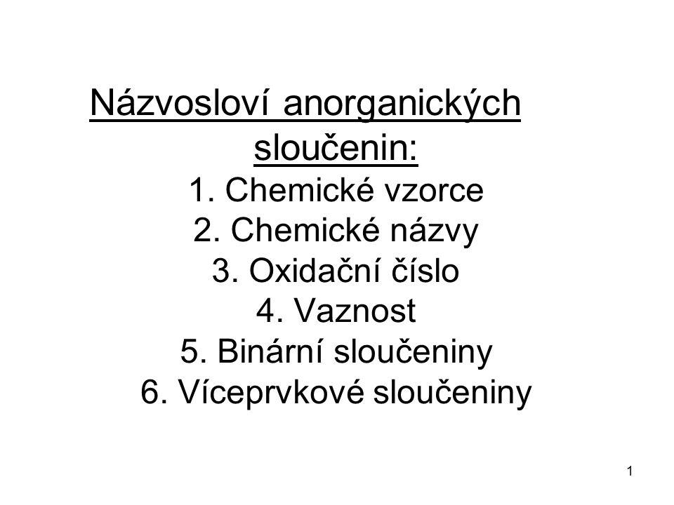 1 Názvosloví anorganických sloučenin: 1. Chemické vzorce 2. Chemické názvy 3. Oxidační číslo 4. Vaznost 5. Binární sloučeniny 6. Víceprvkové sloučenin