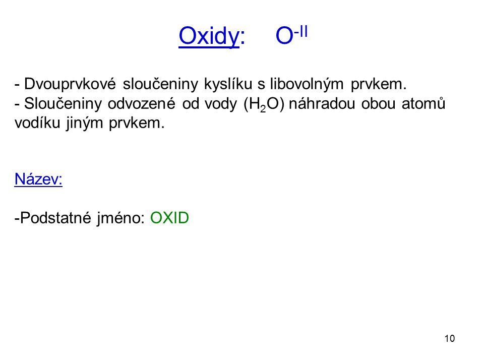 10 Oxidy: O -II - Dvouprvkové sloučeniny kyslíku s libovolným prvkem. - Sloučeniny odvozené od vody (H 2 O) náhradou obou atomů vodíku jiným prvkem. N