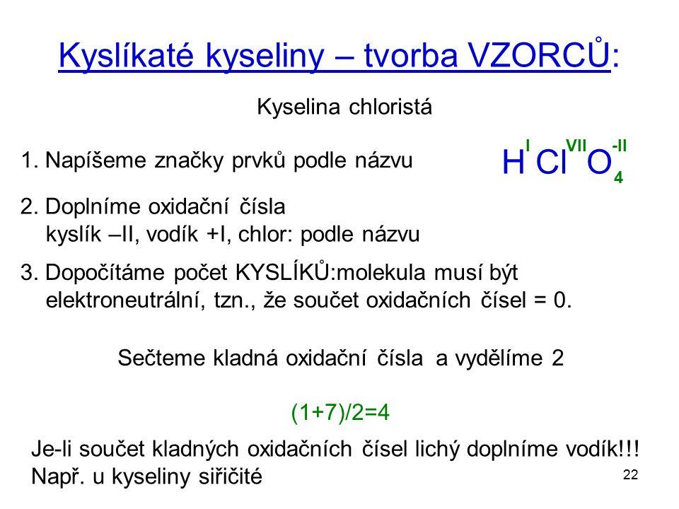 22 Kyslíkaté kyseliny – tvorba VZORCŮ: Kyselina chloristá 1. Napíšeme značky prvků podle názvu H Cl O 2. Doplníme oxidační čísla kyslík –II, vodík +I,