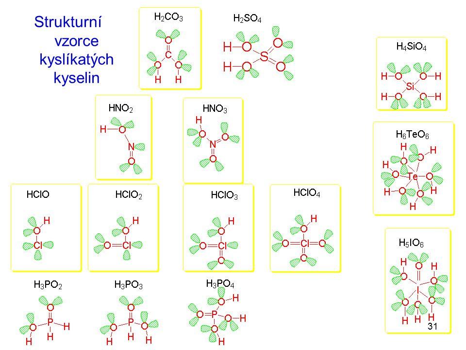 31 Strukturní vzorce kyslíkatých kyselin